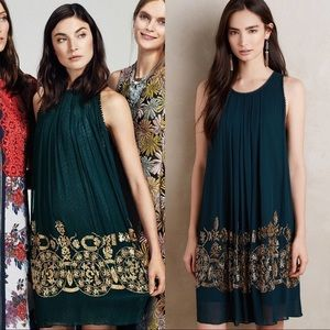Anthropologie NotSoSerious Green&Gold Dress Size 2